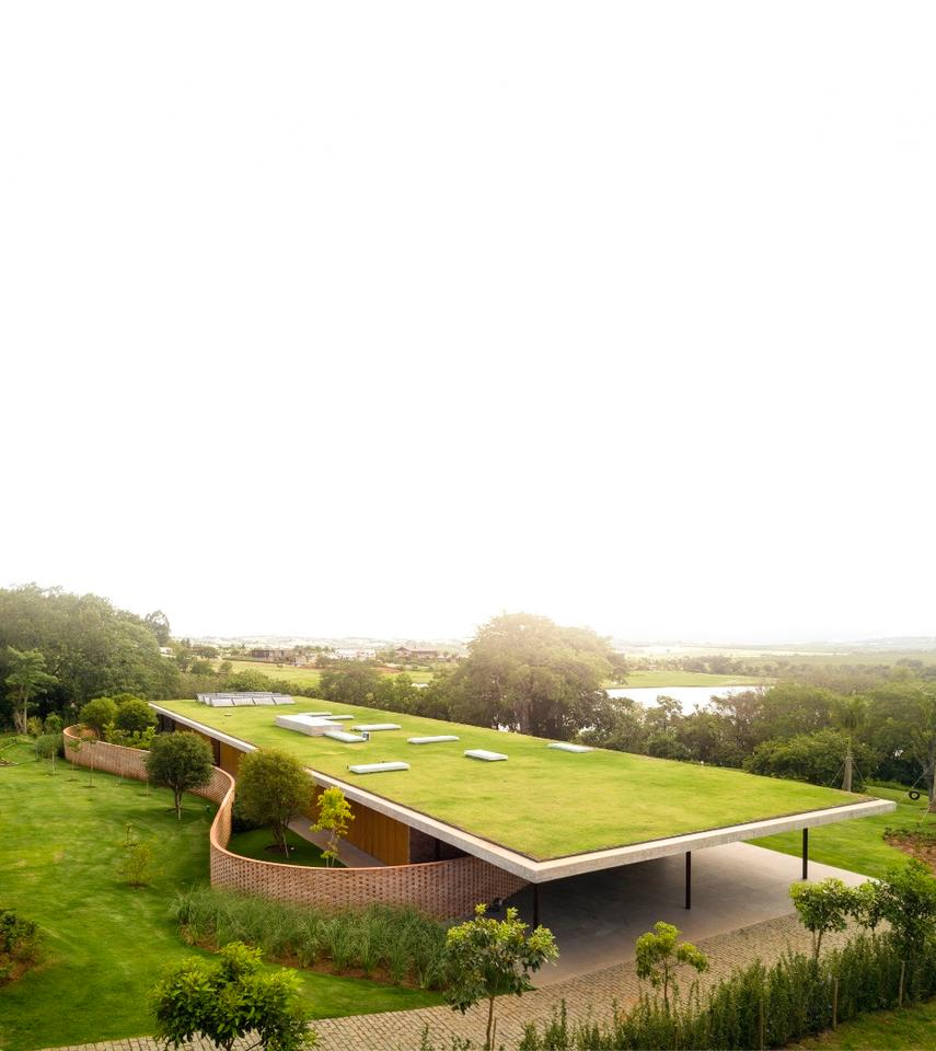 Planar Houseistopped by a concrete roof that's covered in greenery and designed to blend in with its landscaped garden