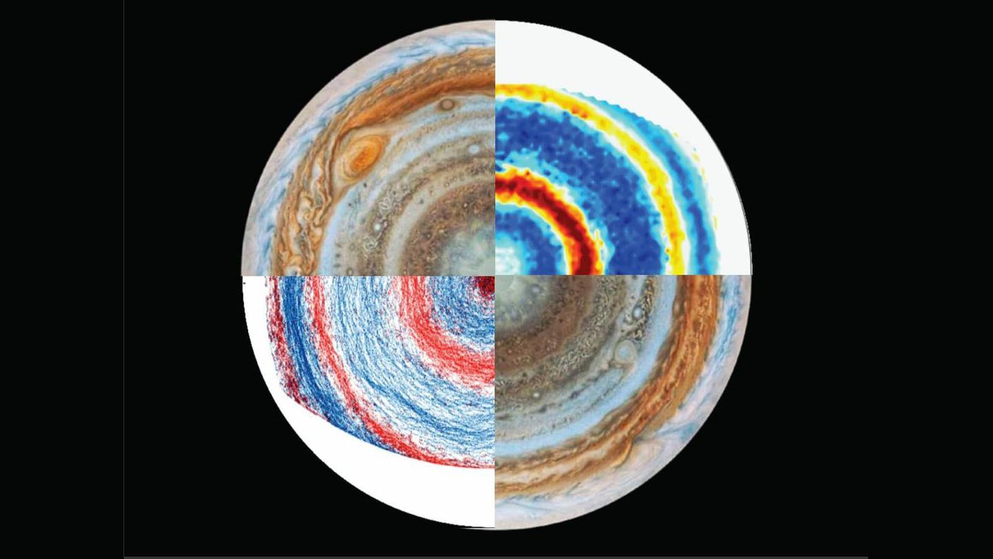 A view of Jupiter's south pole (upper left and lower right) and lab results from a new model of Jupiter's winds (upper right and lower left)