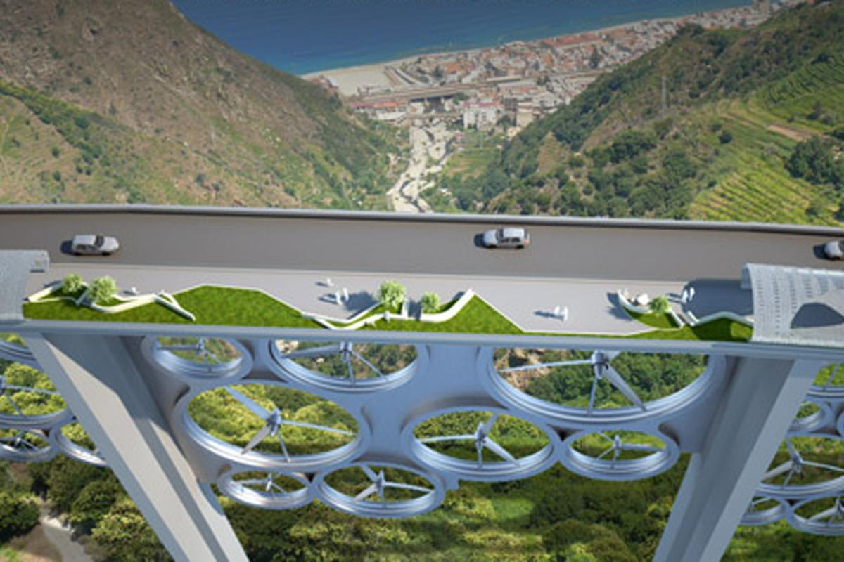 The Solar Wind bridge concept combines solar cells and wind turbines to generate power for around 115,000 homes