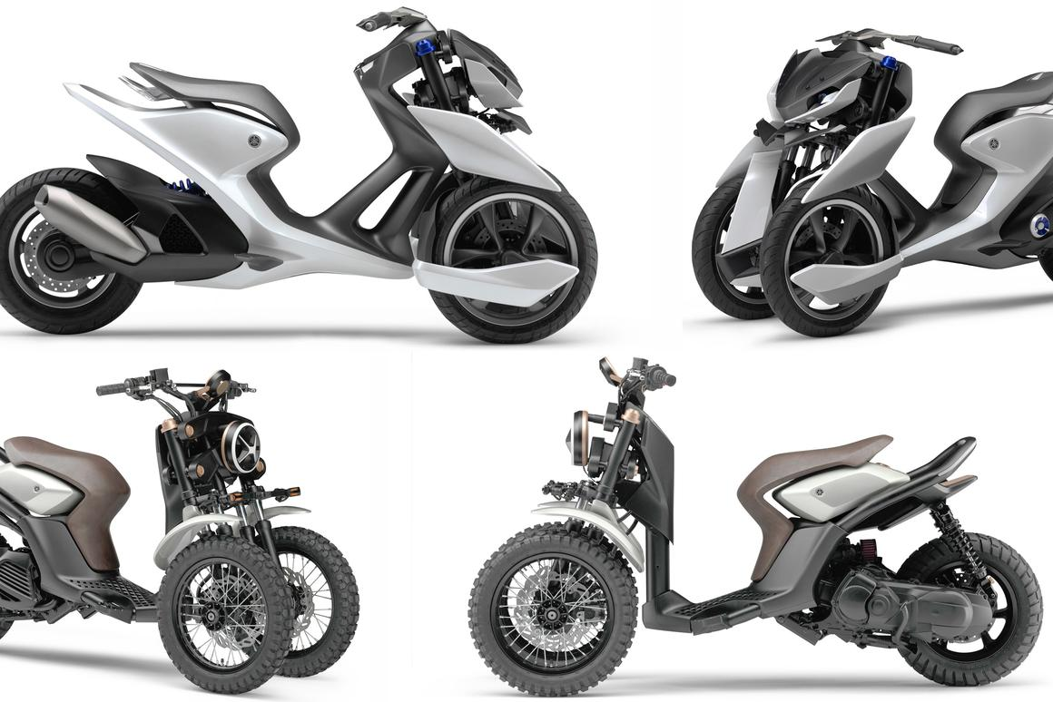 """Yamaha's showing of two vastly different directions for its three-wheeled architecture is an indication we'll see even more variations on the three-wheeled theme from Yamaha at this year's Tokyo Motor Show. That's the road-going 03GEN-f at top and the dual-purpose """"cross"""" 03GEN-x below."""