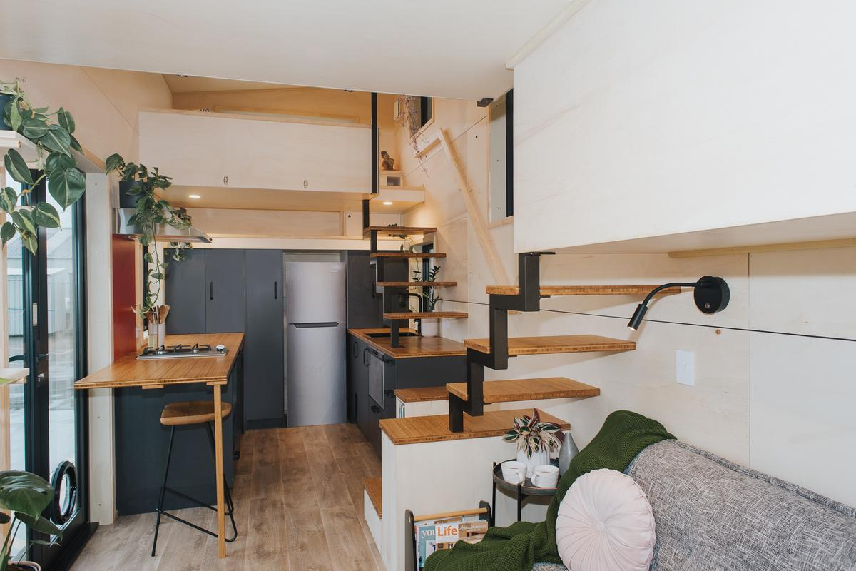 The River Bank's kitchen includes some space-saving furniture including a drop-down table and movable cabinetry