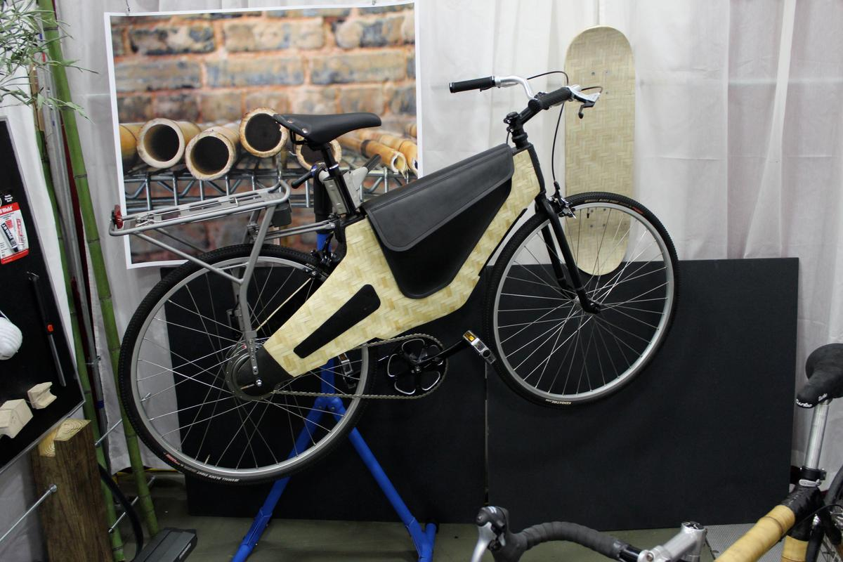The bamboo/balsa composite-framed Bamboost by HERObike (Photo: Ben Coxworth/Gizmag)