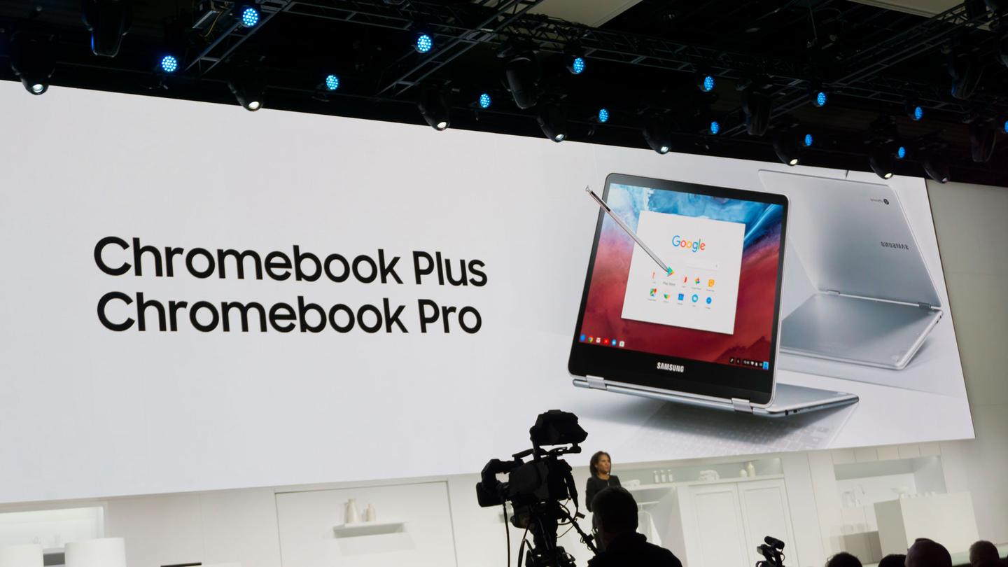 Alanna Cotton, Samsung America vice president of product marketing, unveils the Chromebook Pro and Plus at CES 2017