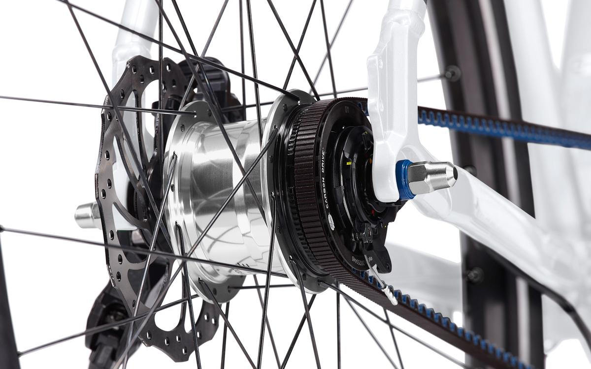 The Porsche Bike S uses a low-gear belted drive