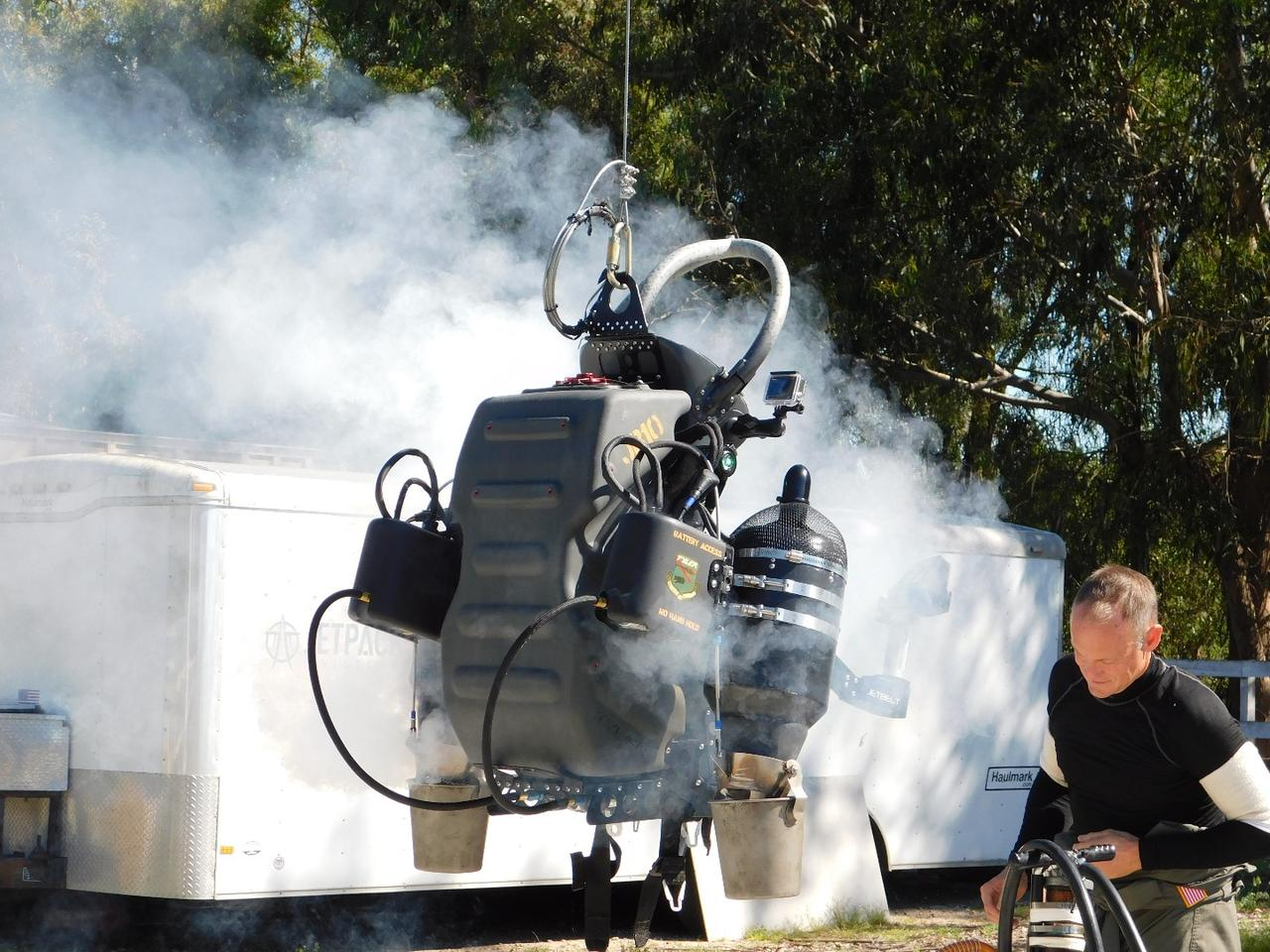 The JB-10 Jetpack from Jetpack Aviation in cool down mode following a demonstration flight