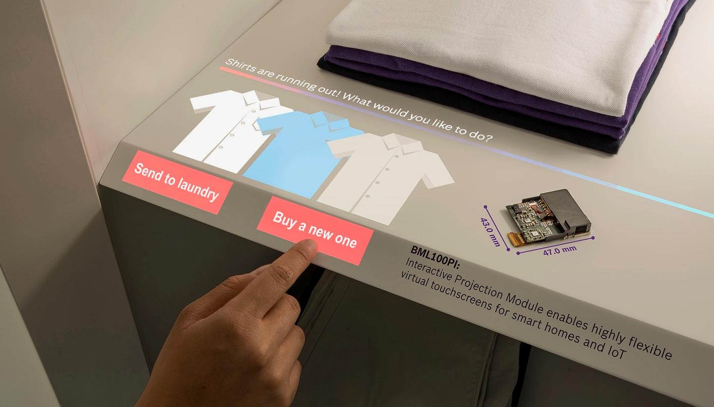 Bosch has unveiled the BML100PI module that can project a virtual touchscreen onto any surface