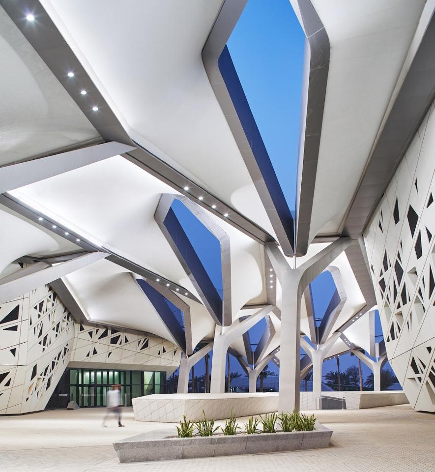 Zaha Hadid Architects' KAPSARC (King Abdullah Petroleum Studies and Research Centre) offers a venue for scientists to research reducing energy use