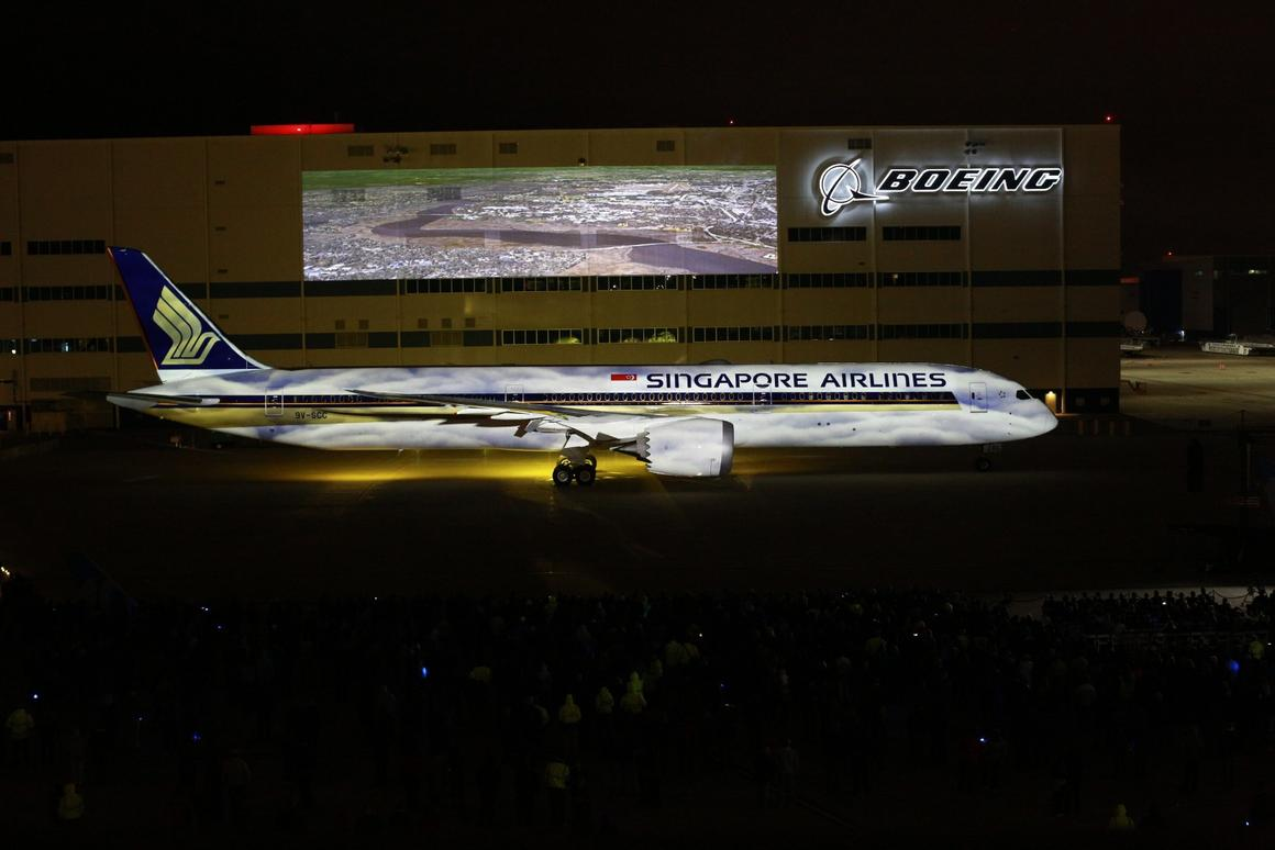 The 787-10 outside Boeing South Carolina during a delivery celebration attended by about 3,000 people