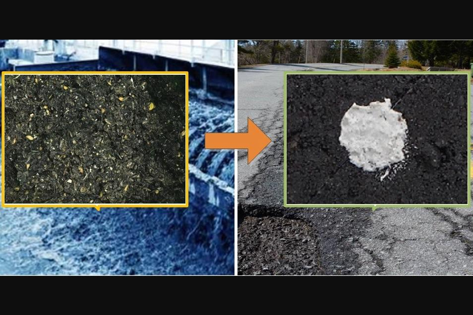 Previously non-recyclable grit used in the treatment of wastewater (left) has been converted into a pothole repair material called GAP (right)