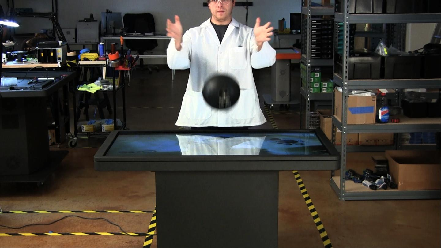 The guys at Ideum recently tested the ruggedness of the company's MT55 Platform multi-touch table by dropping a 13 pound bowling ball on its surface from a height of 18 inches