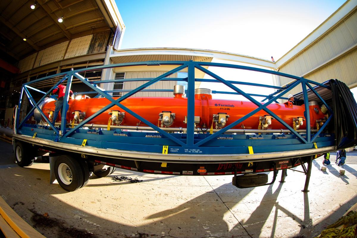 The first of 37 cryomodules has arrived at Stanford's SLAC National Accelerator Laboratory, which will boost the power and speed of the Linac Coherent Light Source (LCLS) X-ray laser