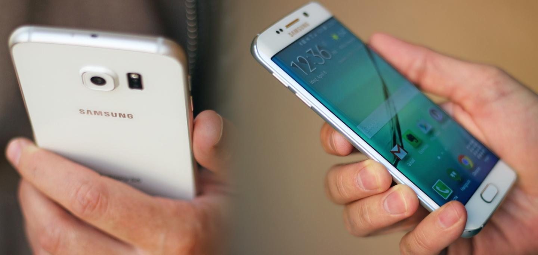 Samsung Galaxy S6 (left), Galaxy S6 edge