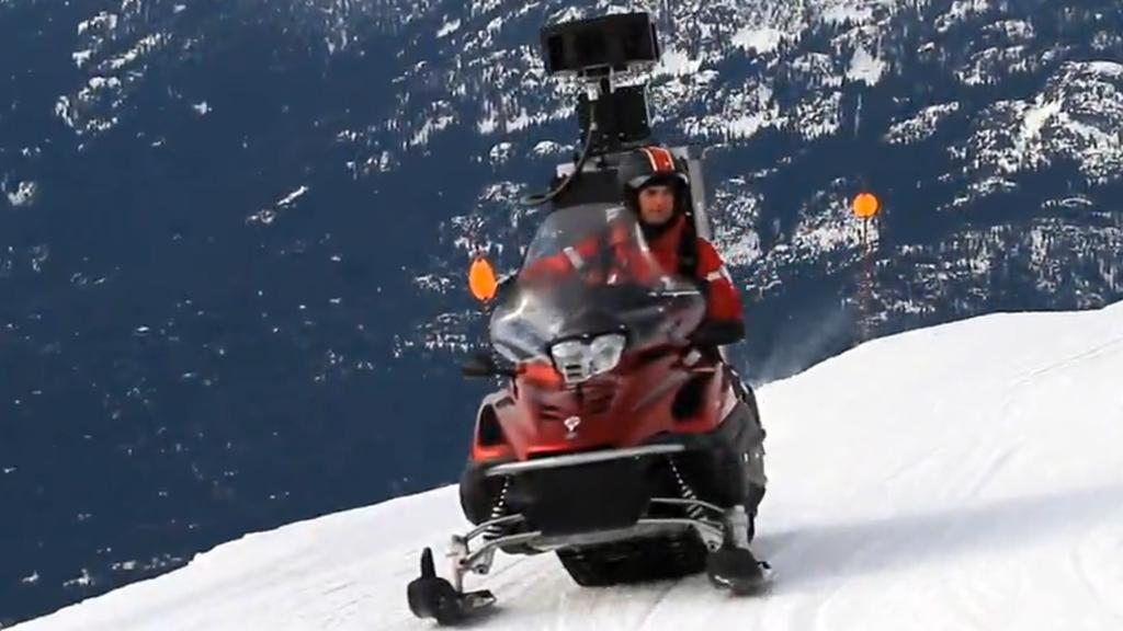 The Google snowmobile captures some images from Whistler