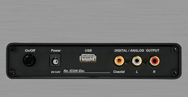 The rear of the Icon iDo showing USB port and RCA outputs