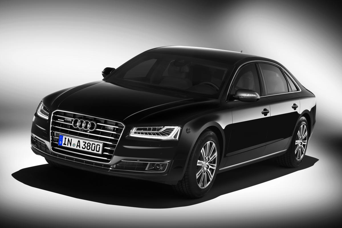 Audi's A8 L Security, with AWD, is offered with a choice of a twin-turbocharged 4.0 liter V8 delivering 435 hp, or a 500 hp W12