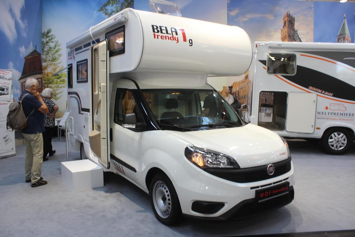 The updated Iridium motorhome next to the Trendy 1 was our original reason for visiting the WOF booth, but we found ourselves more enamored with the Trendy 1G on show