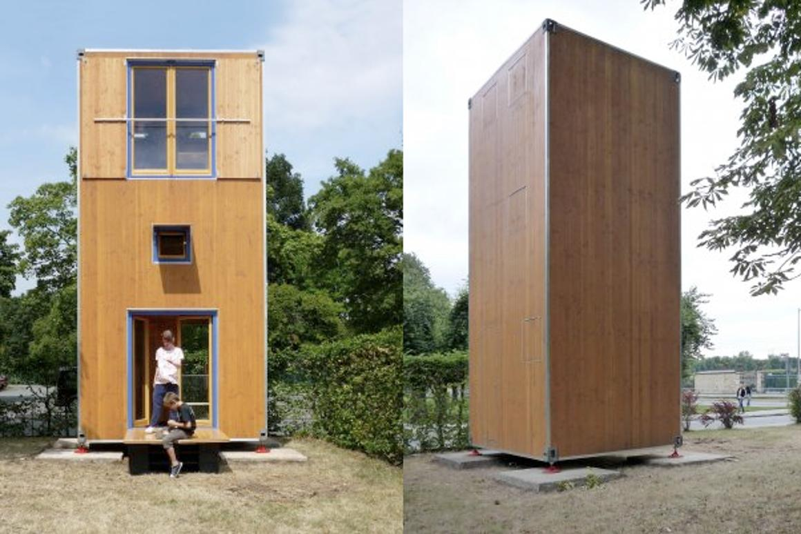 German architectural studio Slawik has created a portable home that fits into the size of a standard shipping container