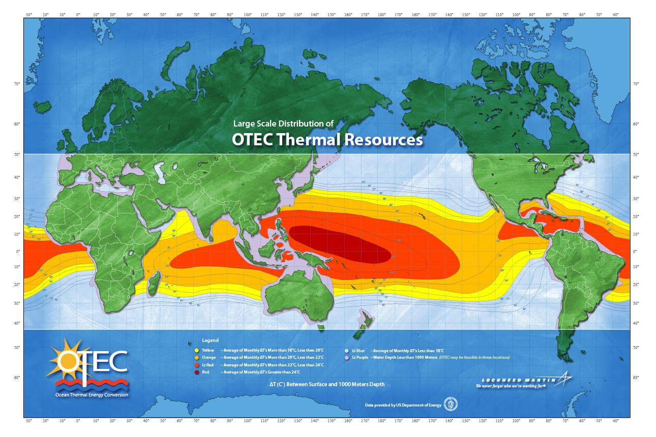 Tropical regions are considered the only viable locations for OTEC plants due to the greater temperature differential between the shallow and deep water