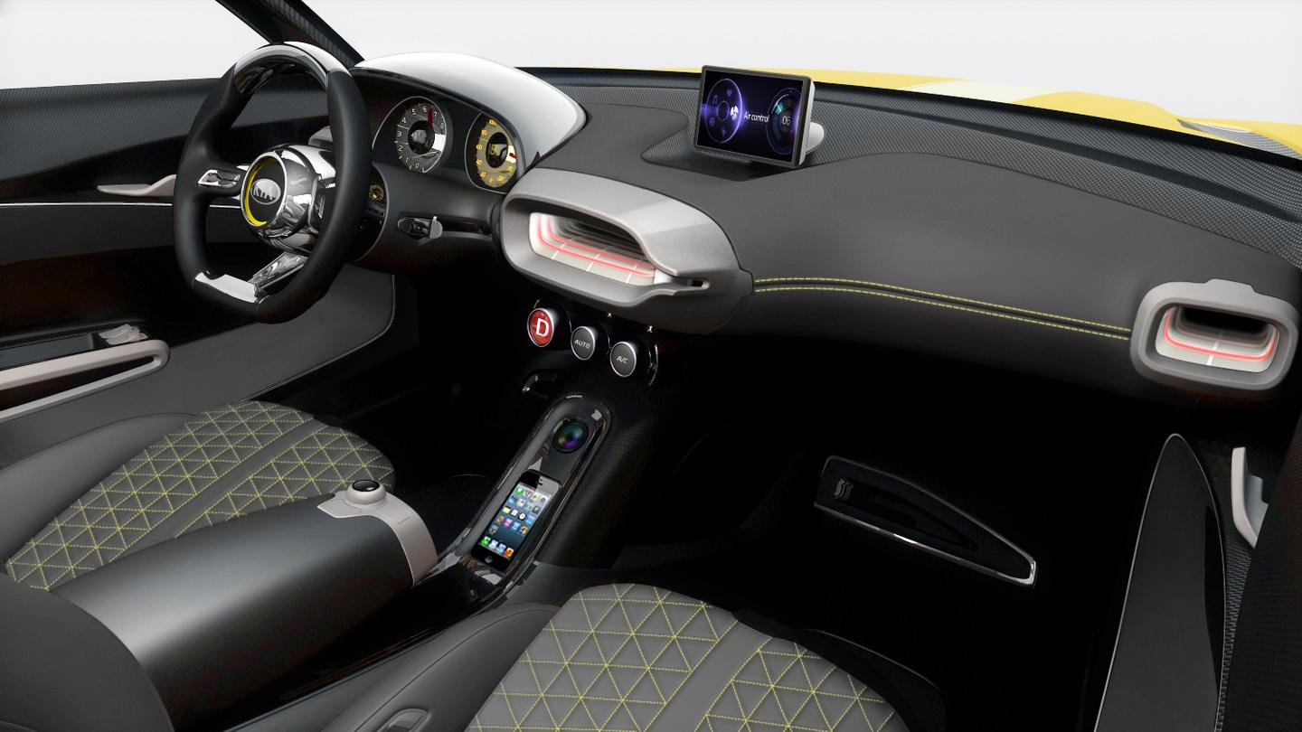 Minimalist interior features a DIS (Driving Information System) controller hooked up to a gesture camera