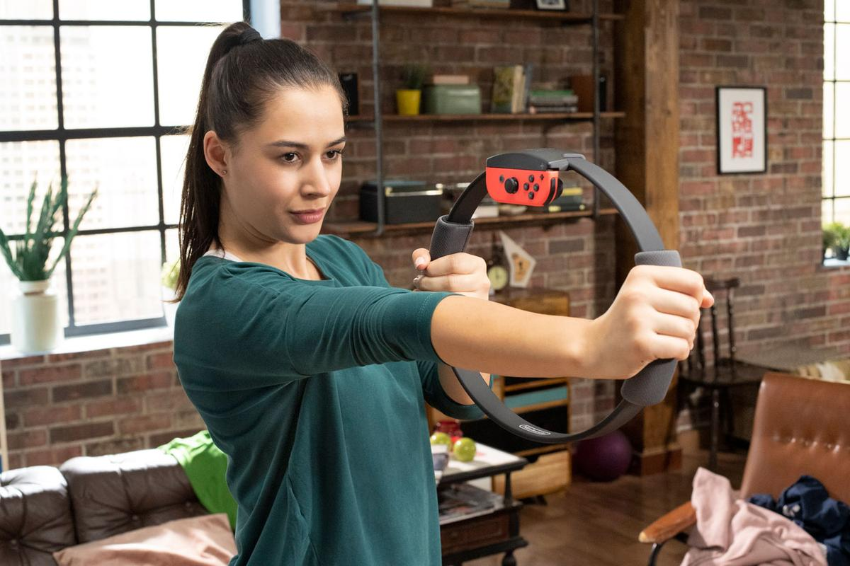 Ring Fit Adventure uses a resistance ring and Nintendo Switch motion controls to combine gaming and fitness