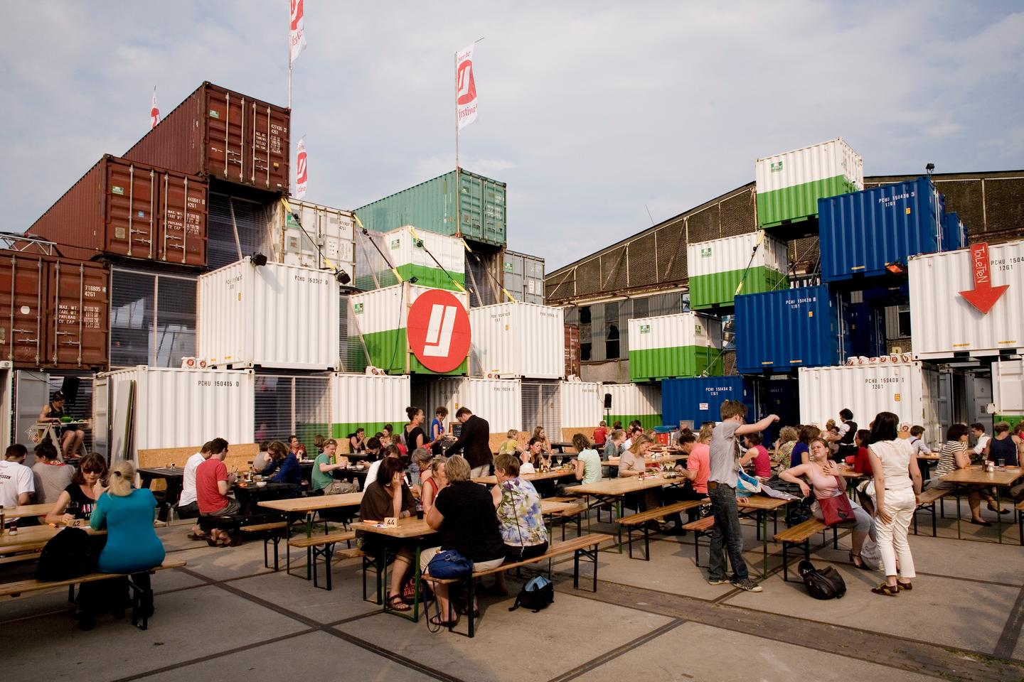 "O+A's shipping container ""city"" for the Over het IJ Festival (Photo: O+A)"