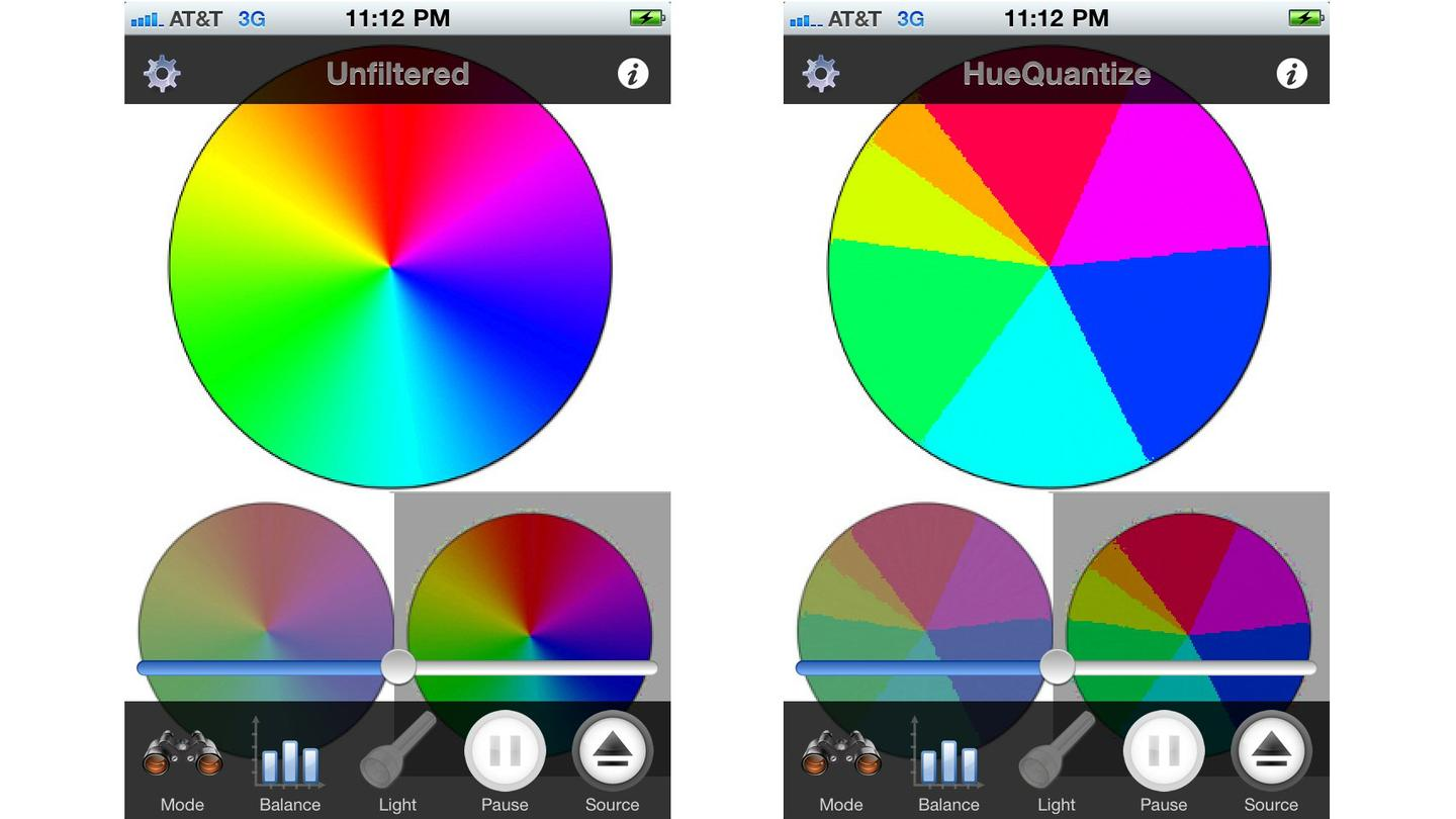On the left is an unfiltered RGB color model, while on the right is the same model after the filter has been applied