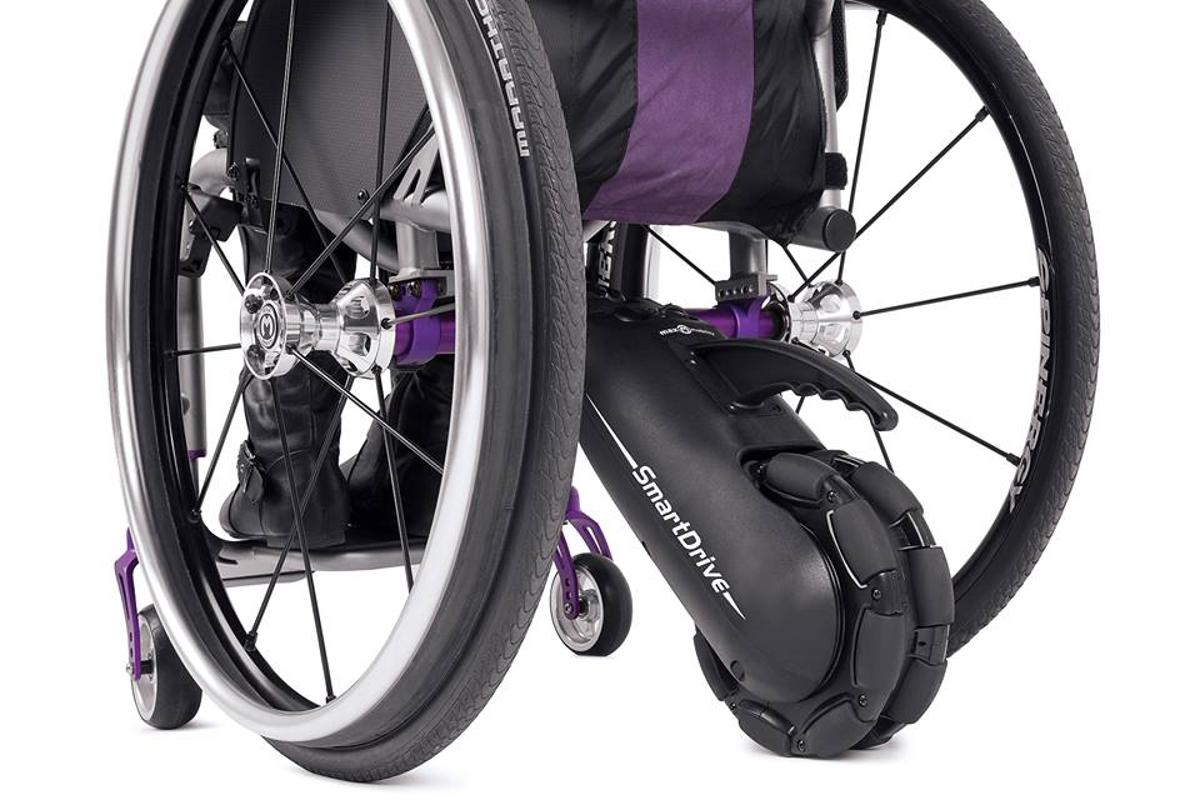 The Smart-Drive MX2 is an electric drive unit designed to attach to an ordinary wheelchair and give a much needed boost whenever it's needed