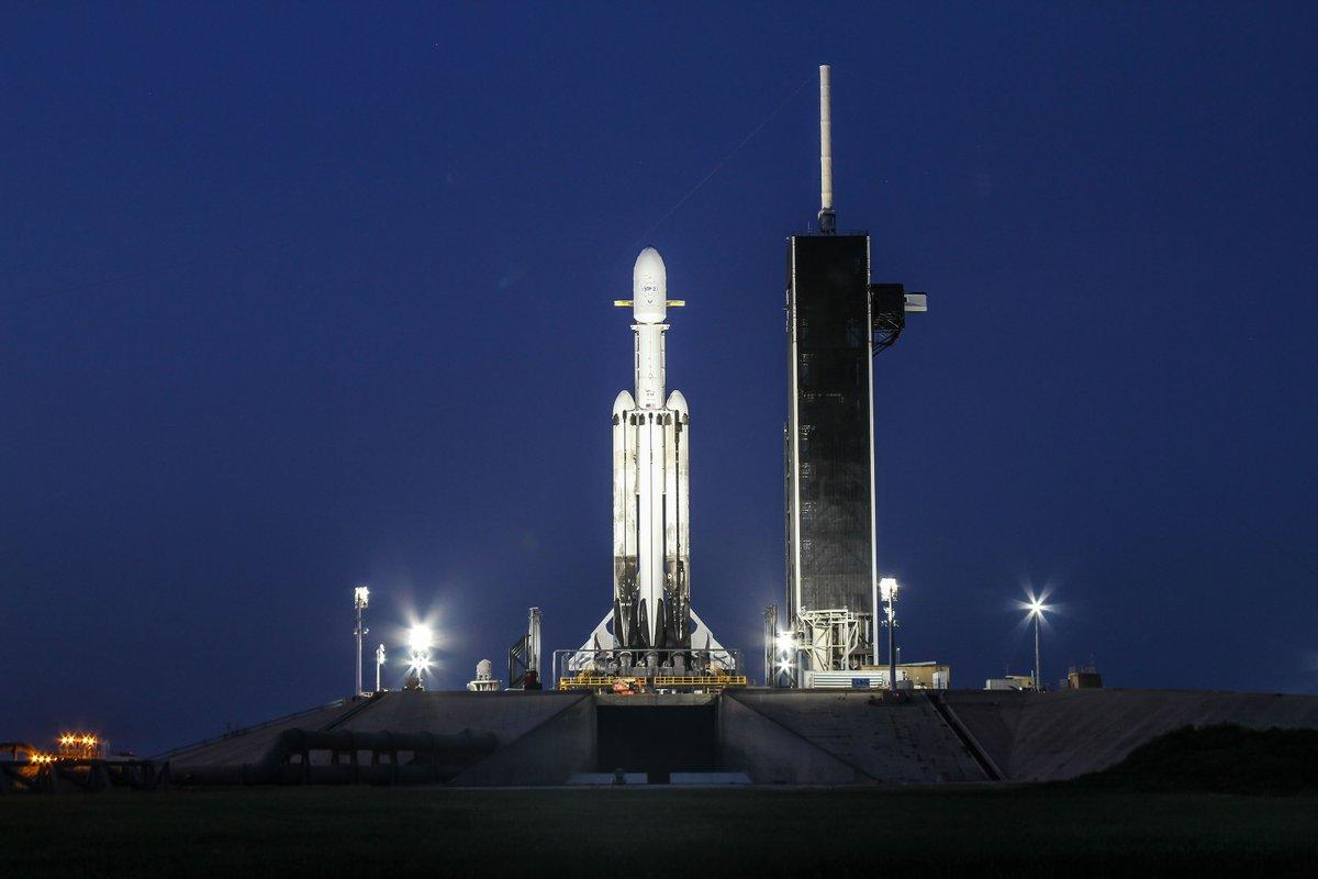 Falcon Heavy on the pad ahead of the STP-2 mission