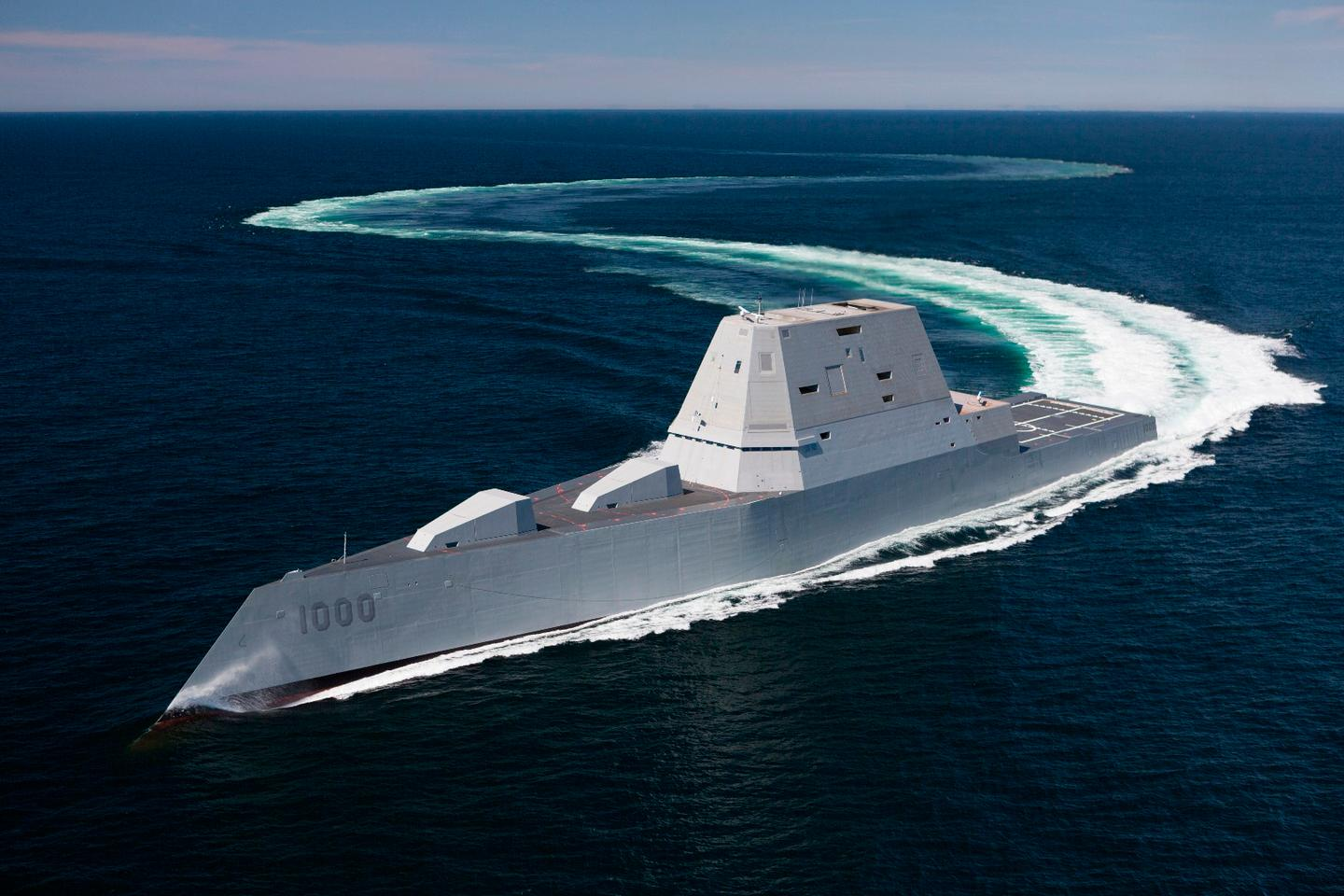 The soon-to-be-commissionedguided-missile destroyer USS Zumwalt (DDG 1000) transits the Atlantic Ocean during acceptance trials April 21
