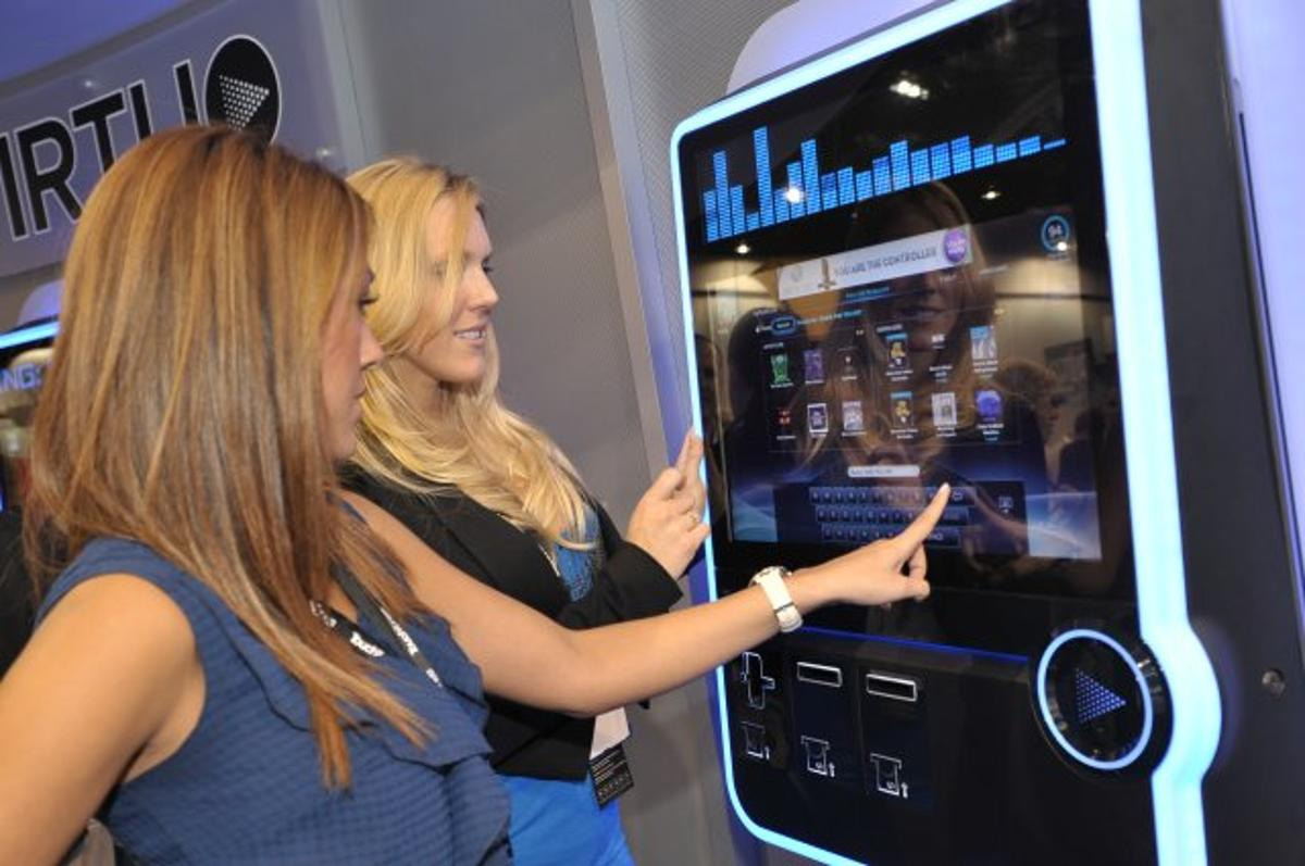 Getting touchy feely at the launch of the TouchTunes Virtuo SmartJuke