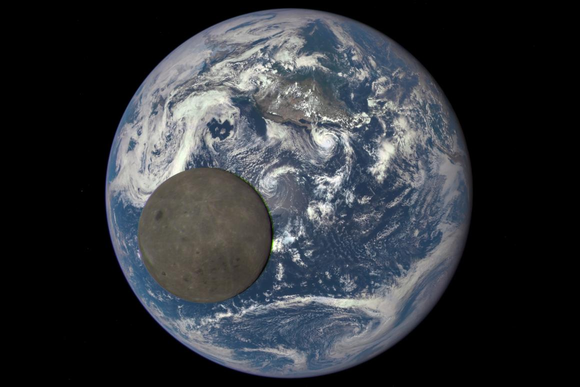 An animation still image, created from images snapped by DSCOVR during lunar transit
