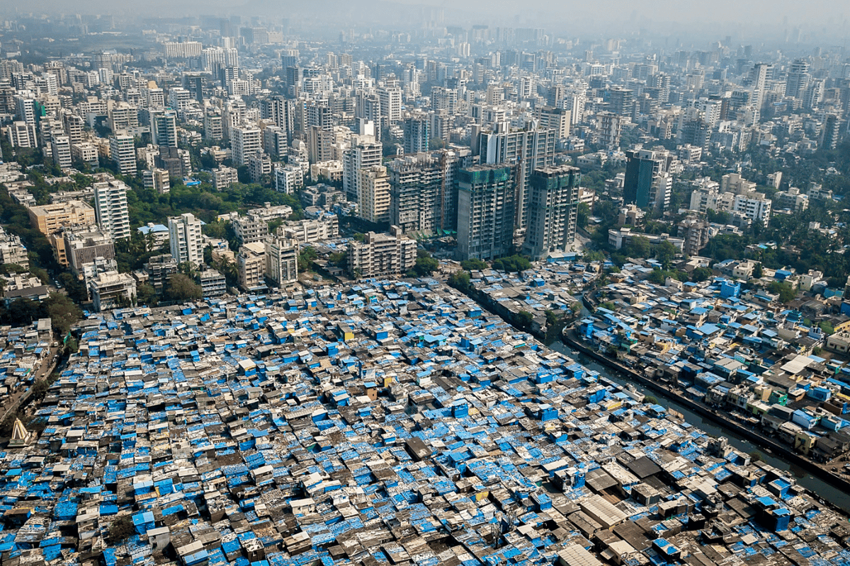 Downtown Mumbai, with slums in the foreground