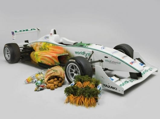 Formula 3 racing car powered by chocolate and steered by