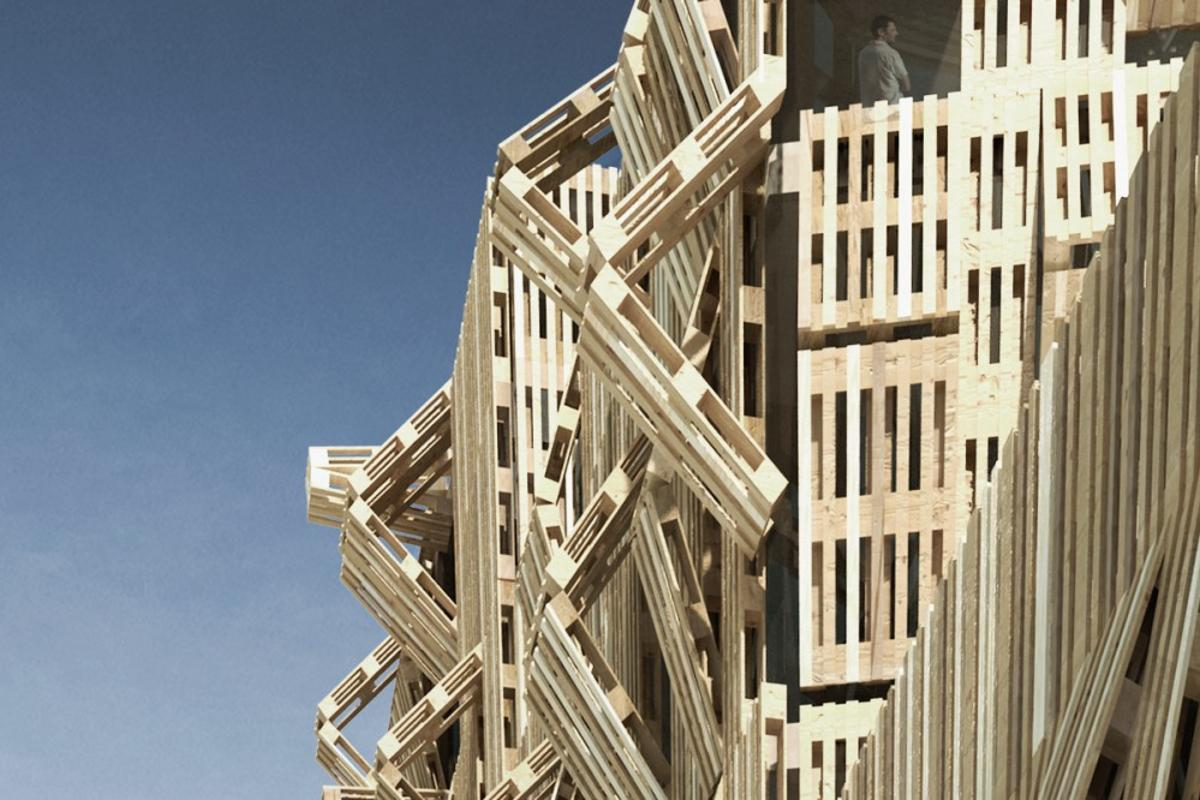 The AME-LOT student housing project is made entirely out of recycled pallets(Image by Malka Architecture)
