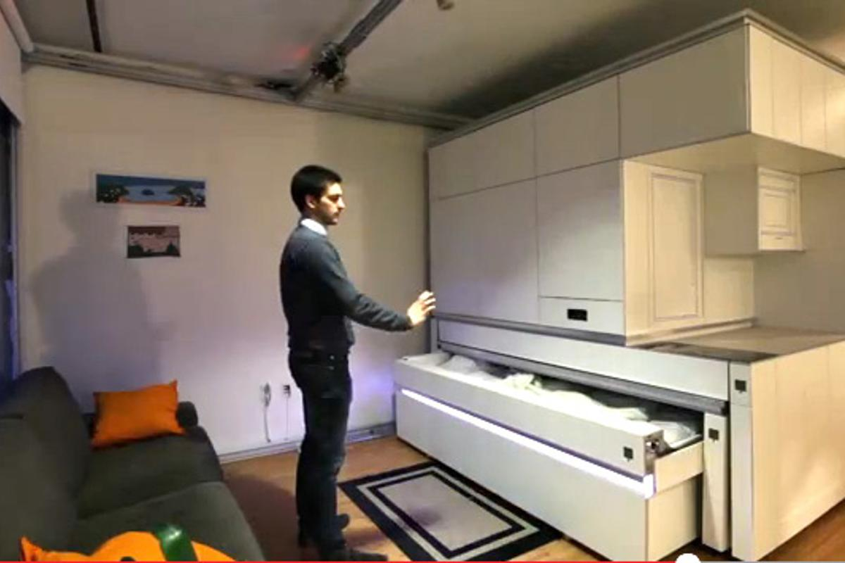 The CityHome project solves typical spatial issues with hidden amenities controlled by hand gestures, interactive touch elements and voice commands