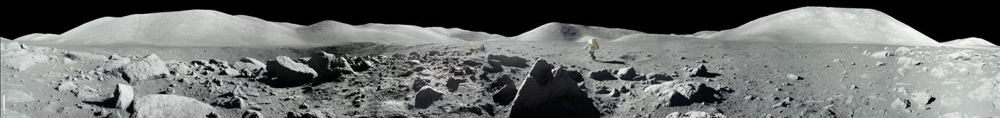 The scene during Apollo 17 at the Taurus-Littrow landing site, during the second moonwalk of the mission by Apollo 17 commander Eugene Cernan and lunar module pilot Harrison (Jack) Schmitt