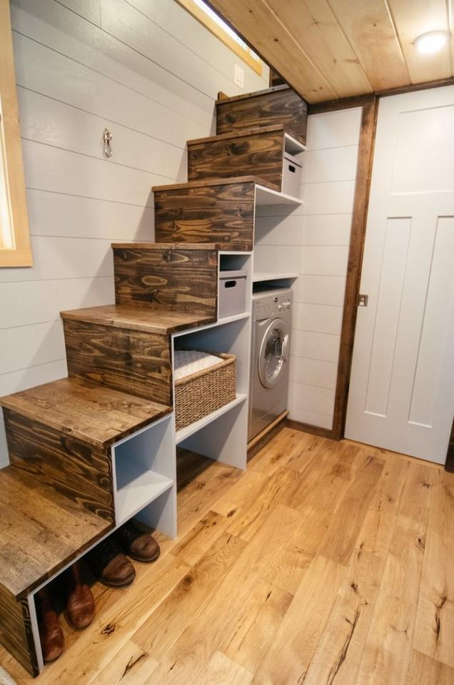 The Lykke features astorage-integrated staircase