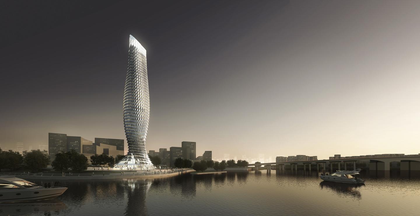 The Doumen Observation Tower will be located at the intersection between two rivers (Image: RMJM)