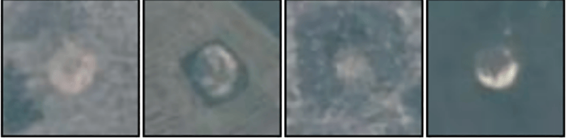 Satellite images of bomb craters from space