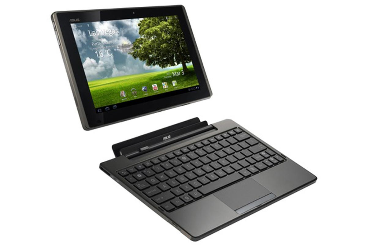The ASUS Eee Pad Transformer and the optional docking station that turns the tablet into a netbook