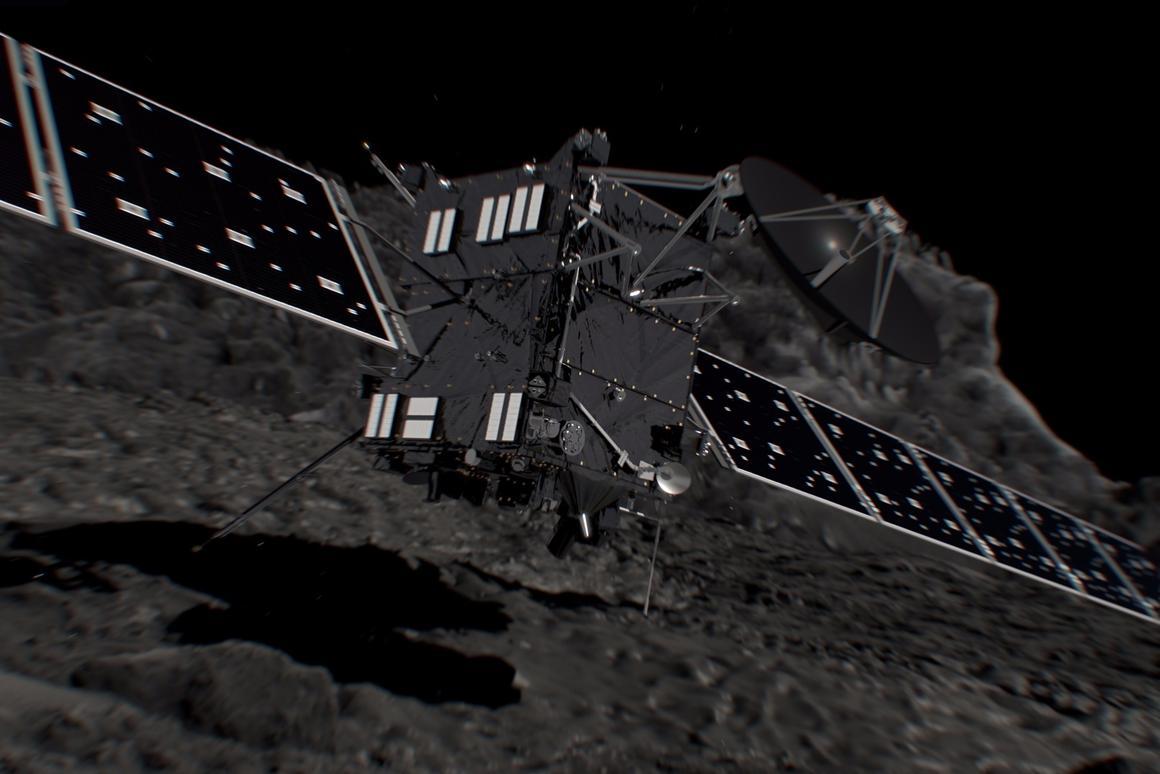 Rendering of Rosetta impacting comet 67P
