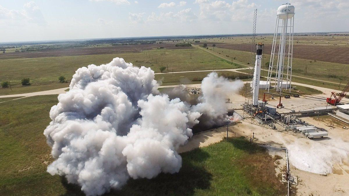 SpaceX completes a static fire test of its Falcon 9 rocket as part of the Crew Dragon program