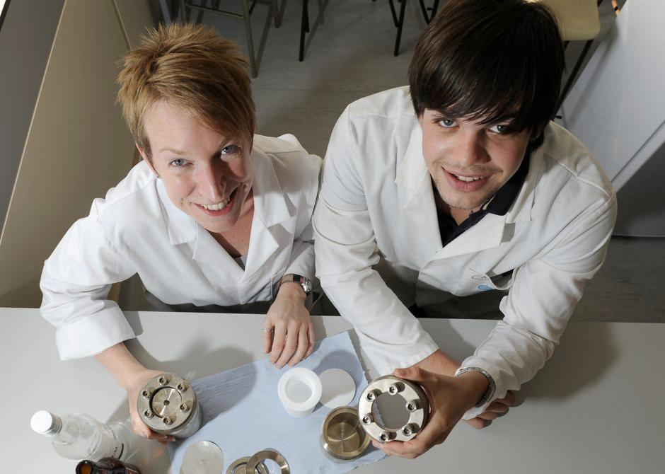 Dr. Nichola Coleman and Cameron Abercrombie, a final year Chemistry student from the University of Greenwich