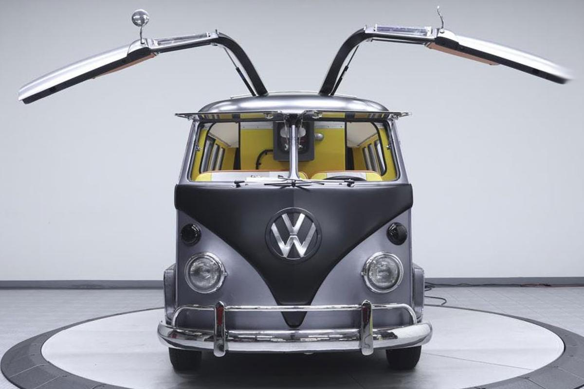 The Volkswagen Kombi complete with DeLorean-like gull-wing doors