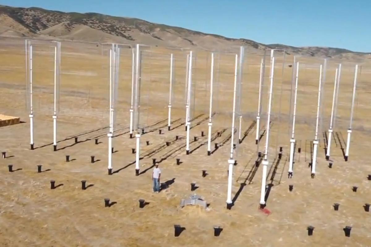 The Caltech Field Laboratory for Optimized Wind Energy where arrays of closely spaced vertical-axis wind turbines were tested