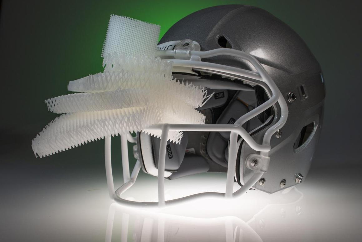 The material could replace the foam protective padding that currently sits beneath the outer shell of sports, motorcycle and military helmets