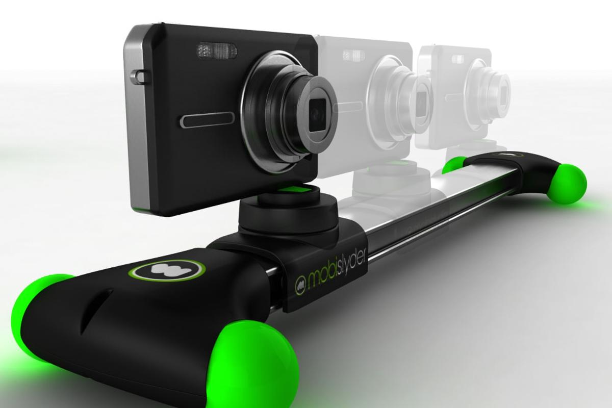 The mobislyder is a compact video camera sliding system, for use with smartphone cameras and pocket camcorders
