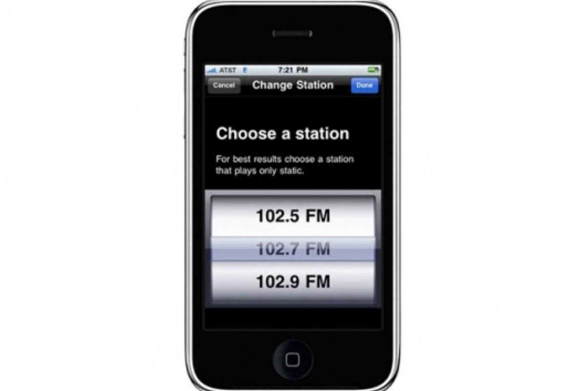 The Belkin TuneCast Auto Live using the iPhone display
