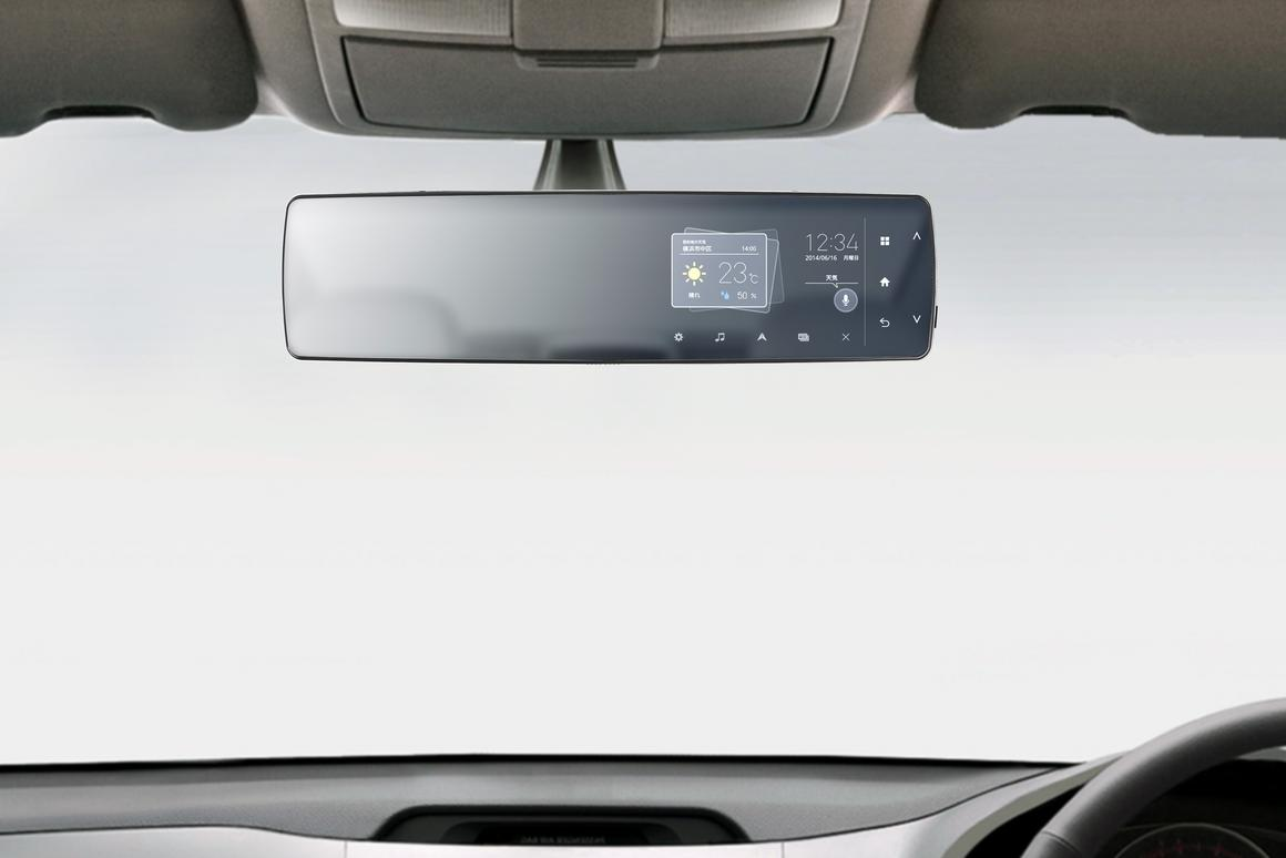 The Pioneer rearview mirror telematics unit installs over the existing rearview mirror