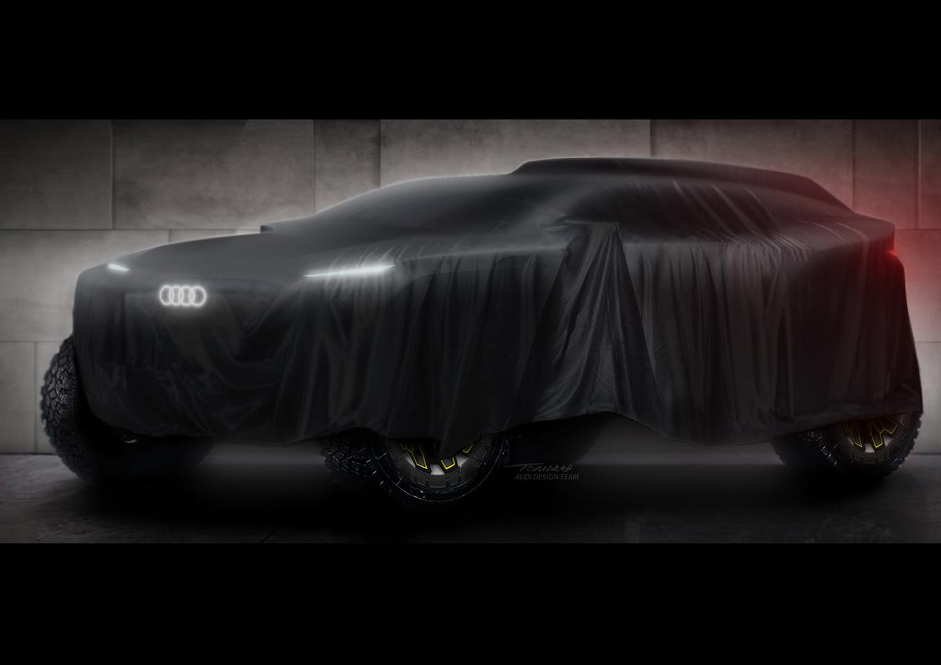 Audi teases its hybrid rally car ahead of its first Dakar appearance